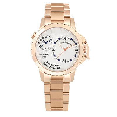 Manlike 曼莉萊克 藍寶石兩地時區限量腕錶【玫色/鋼帶/白面】