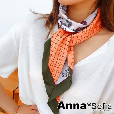 AnnaSofia 小房子格線斜角 窄版緞面仿絲領巾絲巾圍巾(橘米系)