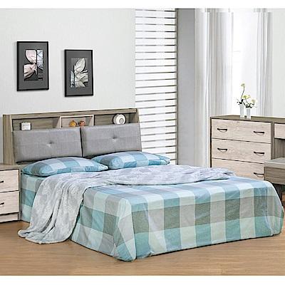 綠活居 莉比娜5尺雙人床台(床頭箱+六分木床底+不含床底)-152x213x99cm免組
