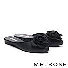 拖鞋 MELROSE 恬雅氣質山茶花造型穆勒拖鞋-黑
