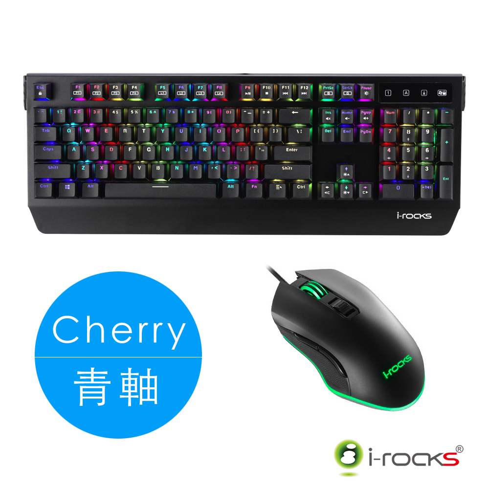 i-Rocks K60M PLUS 機械式鍵盤-Cherry青軸+M33 全背光遊戲滑鼠