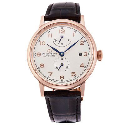 ORIENT東方STAR東方之星真皮機械錶手錶-玫瑰金框X咖啡/39mm