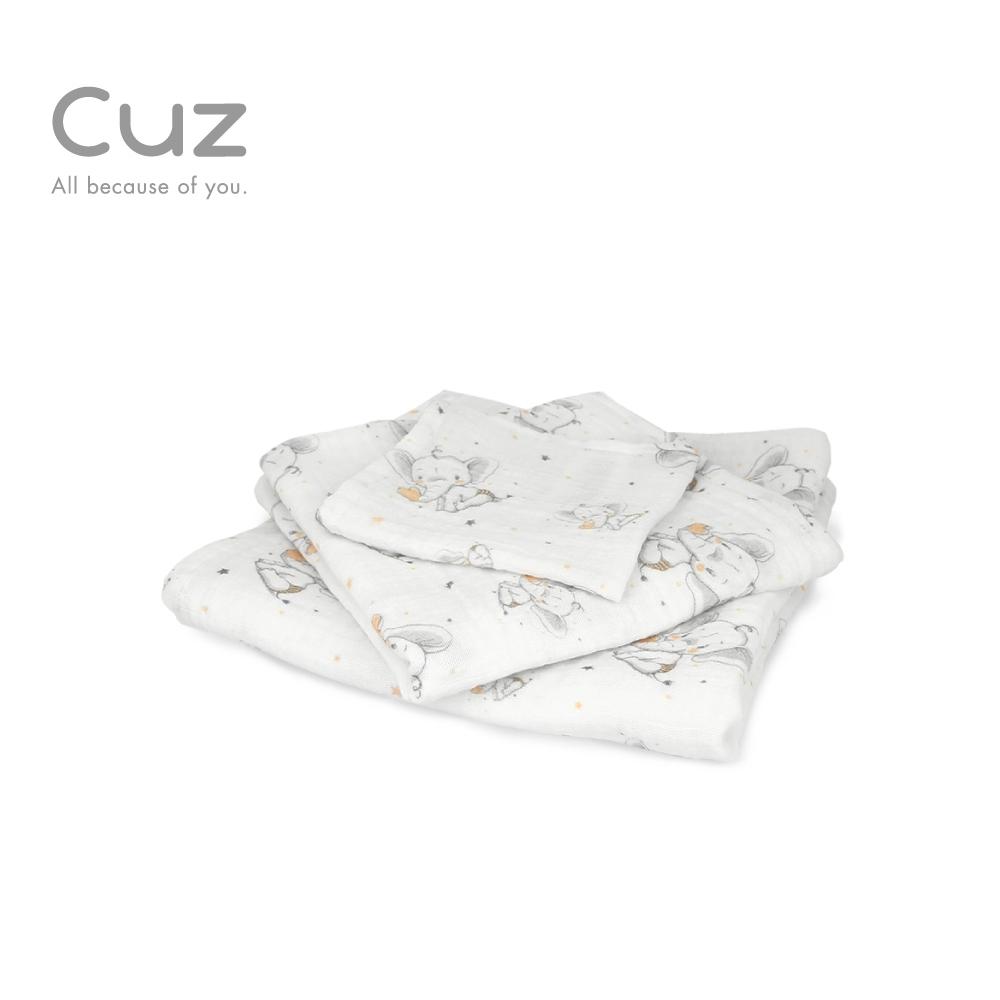【Cuz】 甜心小象(紗布巾)30cm(2入)