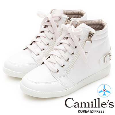 Camille's 韓國空運-洞洞綁帶拉鍊內增高休閒鞋-白色