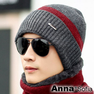 AnnaSofia 框窗騰小橫標 加厚針織貼頭毛帽(深灰紅色)