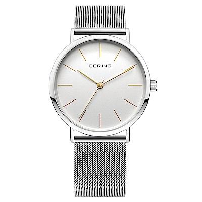 BERING丹麥精品手錶 簡約刻度米蘭帶系列 白x銀36mm