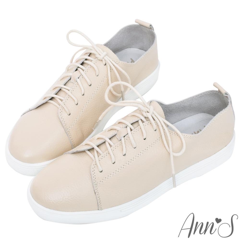 Ann'S第二代超軟真牛皮綁帶小白鞋-奶茶杏