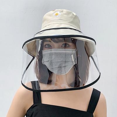 【89 zone】日系防疫防飛沫可拆可摺疊漁夫帽帽帶面罩/遮陽帽面罩 (黑)