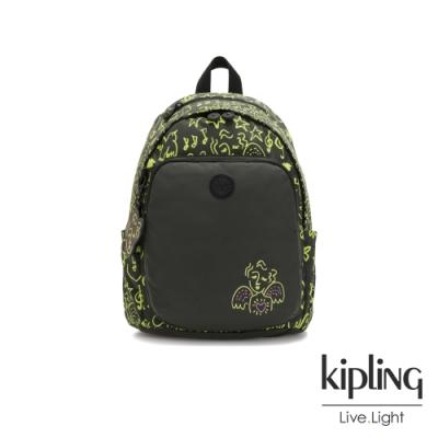 Kipling Christine Lau聯名款-螢光綠音樂塗鴉上方拉鍊後背包-DELIA