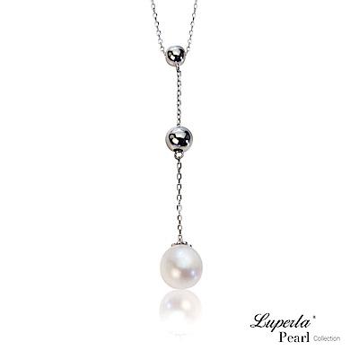 大東山珠寶 純銀晶鑽天然珍珠項鍊鎖骨Y字鍊  優雅貴族