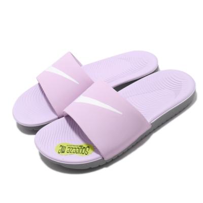 Nike 涼拖鞋 Kawa Slide GS 套腳女鞋 輕便 簡約舒適 大logo 大童 穿搭 粉紫 白 819352501