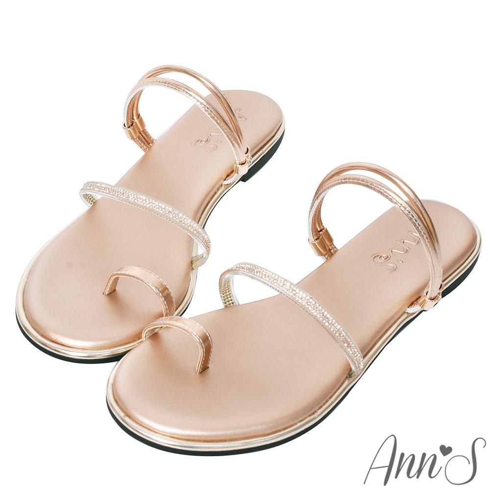 Ann'S裸膚透明系-軟質鑽石夾腳可兩穿寬版平底涼鞋-玫瑰金(版型偏小)