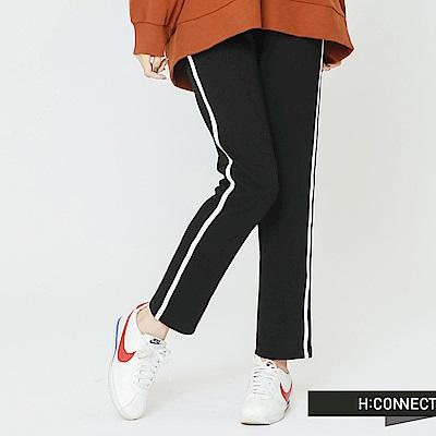 H:CONNECT 韓國品牌 女裝-撞色線條鬆緊長褲-黑