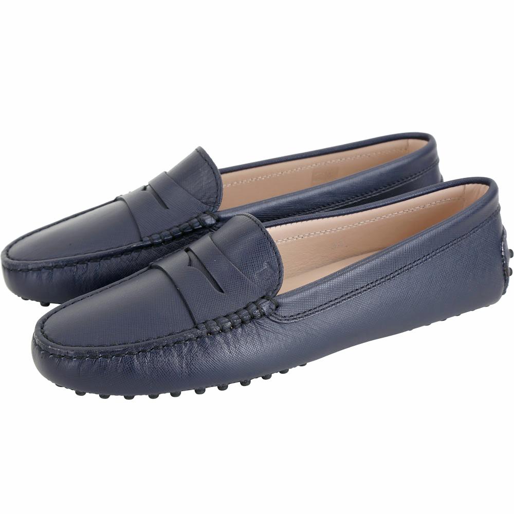 TOD'S Gommino 防刮牛皮豆豆休閒鞋(女鞋/深藍色)
