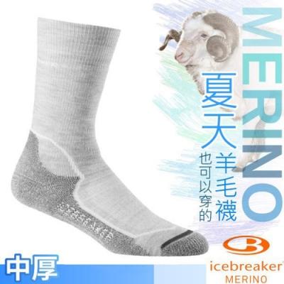 Icebreaker 女款 美麗諾羊毛 Hike+ 中筒中毛圈健行襪(2入)_灰白