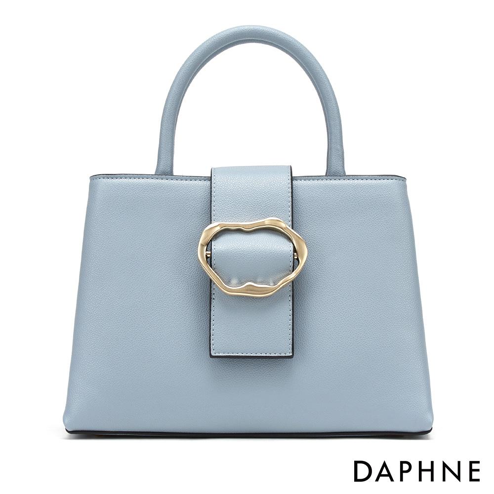 達芙妮DAPHNE-溫婉不規則圓扣時尚手提包-藍色