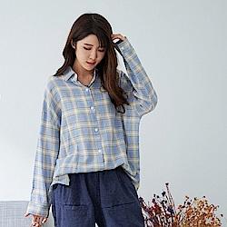 慢 生活 寬版親膚棉質格紋襯衫- 淺綠/天藍