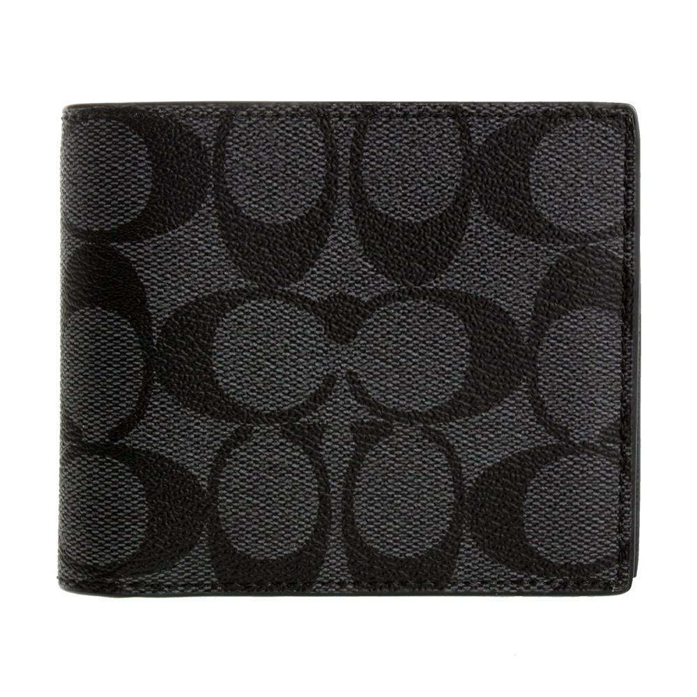 COACH 經典大c防刮皮革男用卡夾+短夾 黑灰色