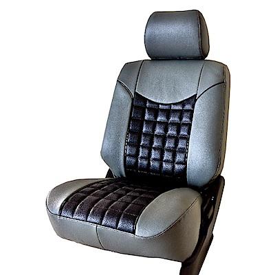 【葵花】量身訂做-汽車椅套-日式合成皮-格紋G款-露營車款-雙前座-第一排2人座