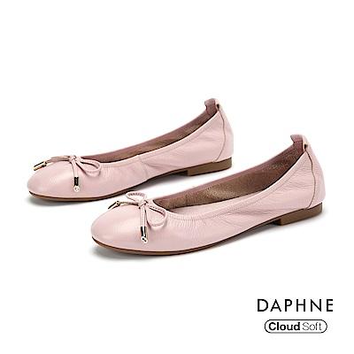 達芙妮DAPHNE 平底鞋-真皮甜美蝴蝶結平底娃娃鞋-紫