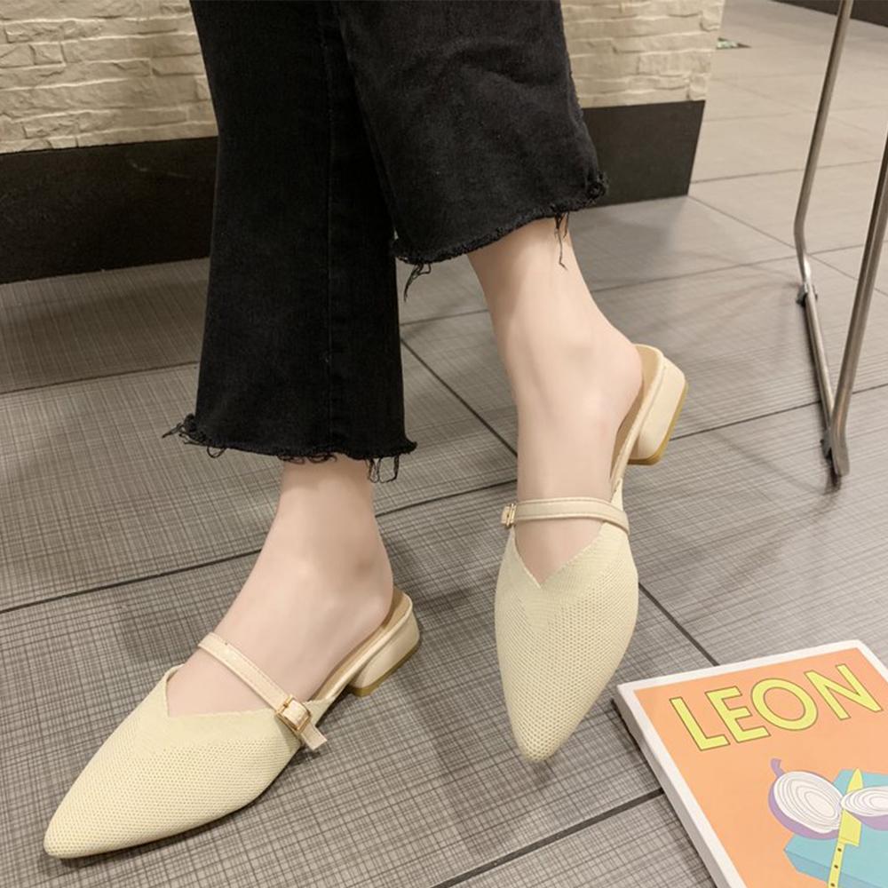 KEITH-WILL時尚鞋館 輕柔法式優雅尖頭粗跟鞋-米白色