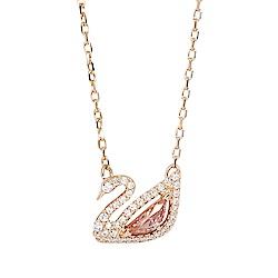 SWAROVSKI 施華洛世奇 璀璨粉水晶天鵝玫瑰金項鍊