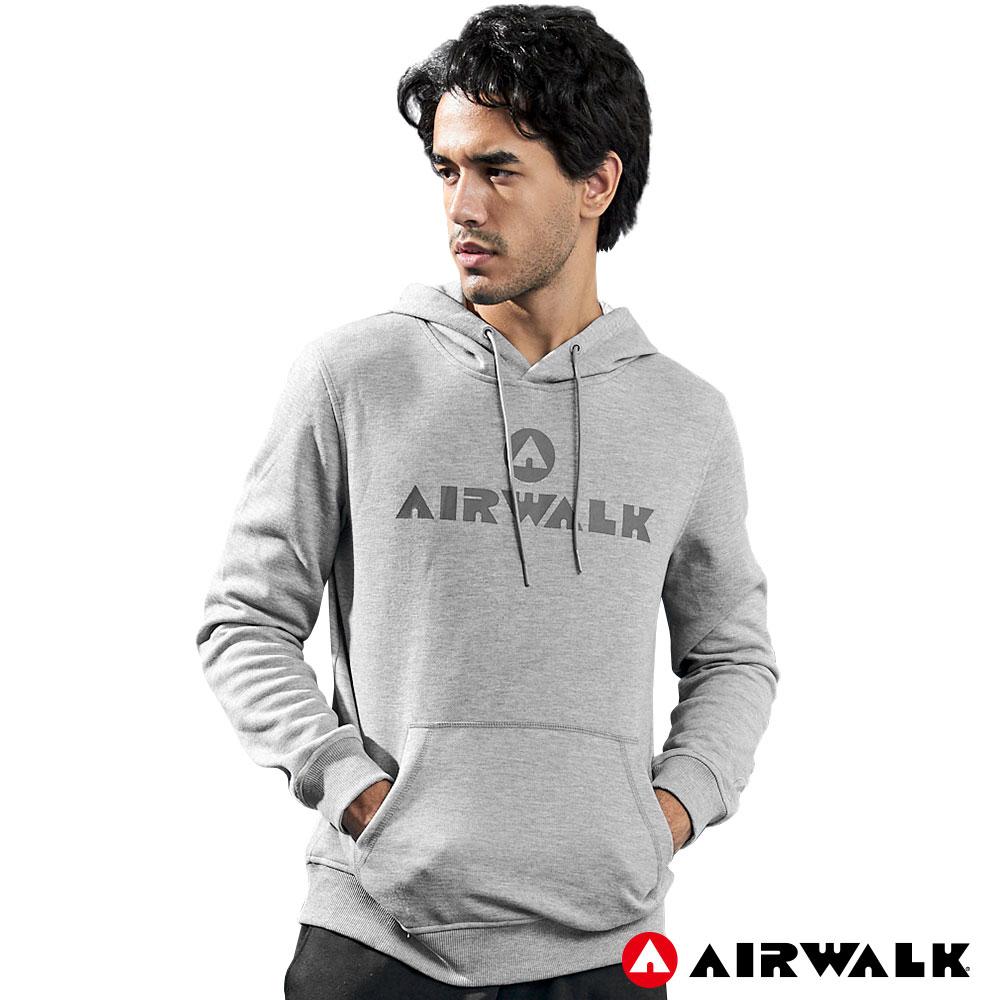 【AIRWALK】男款連帽印花T-麻灰