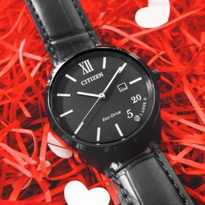 CITIZEN 520 我愛你 城市浪漫 光動能 日期 小牛皮手錶-黑色/34mm