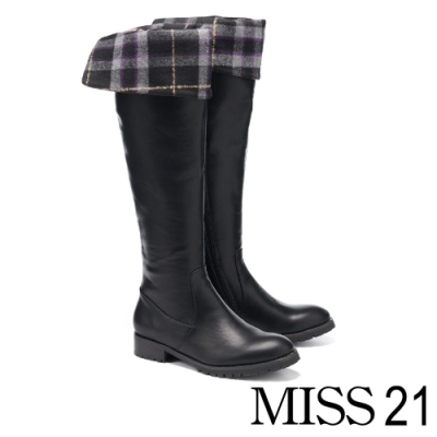 長靴 MISS 21 兩穿設計後釦帶造型膝上粗跟長靴-黑