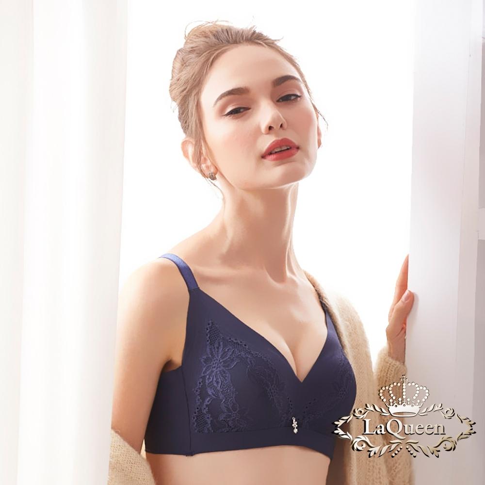 內衣 3D深V無鋼圈天然蠶絲單內衣-藍 La Queen