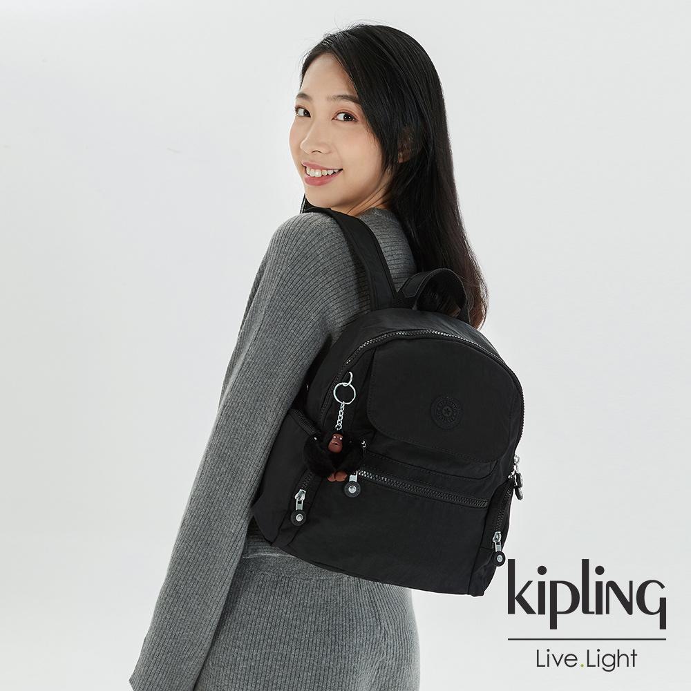 Kipling 質感黑多口袋拉鍊後背包-MATTA