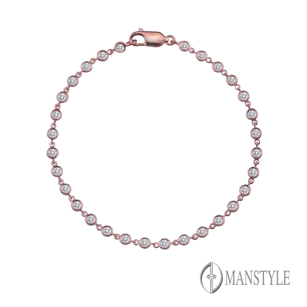 MANSTYLE 幸福光點 0.80ct 玫瑰金鑽石手鍊