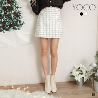 東京著衣-YOCO 閃閃惹人愛特殊格線金蔥點綴A字短裙-S.M.L