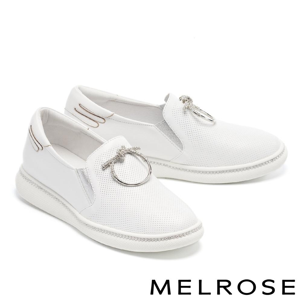 休閒鞋 MELROSE 質感時尚鑽飾全真皮厚底休閒鞋-白
