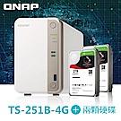 QNAP 威聯通TS-251B-4G網路儲存伺服器+IronWolf 2TB x2