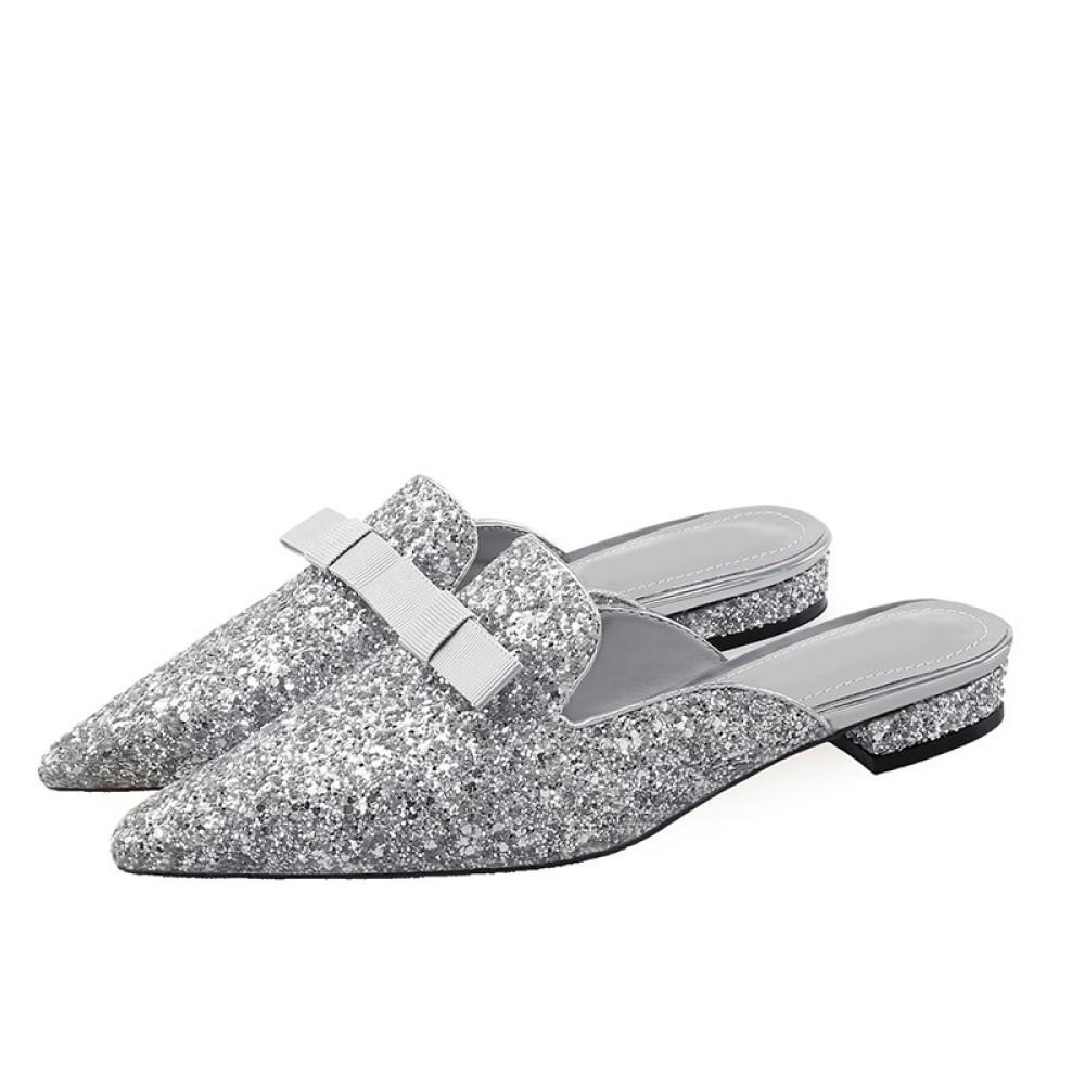 Cinderella Fashions 經典時尚● 閃亮搶眼平底穆勒鞋 - 銀色