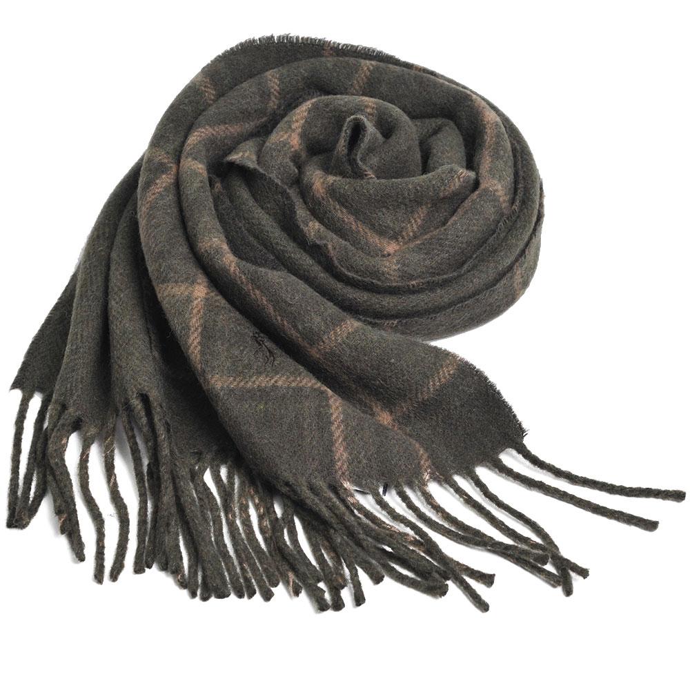 RALPH LAUREN POLO 義大利製小馬刺繡雙面配格紋羊毛圍巾(綠色系)GUCCI
