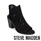 STEVE MADDEN-MAXINE魚口絨面粗跟涼鞋-絨黑