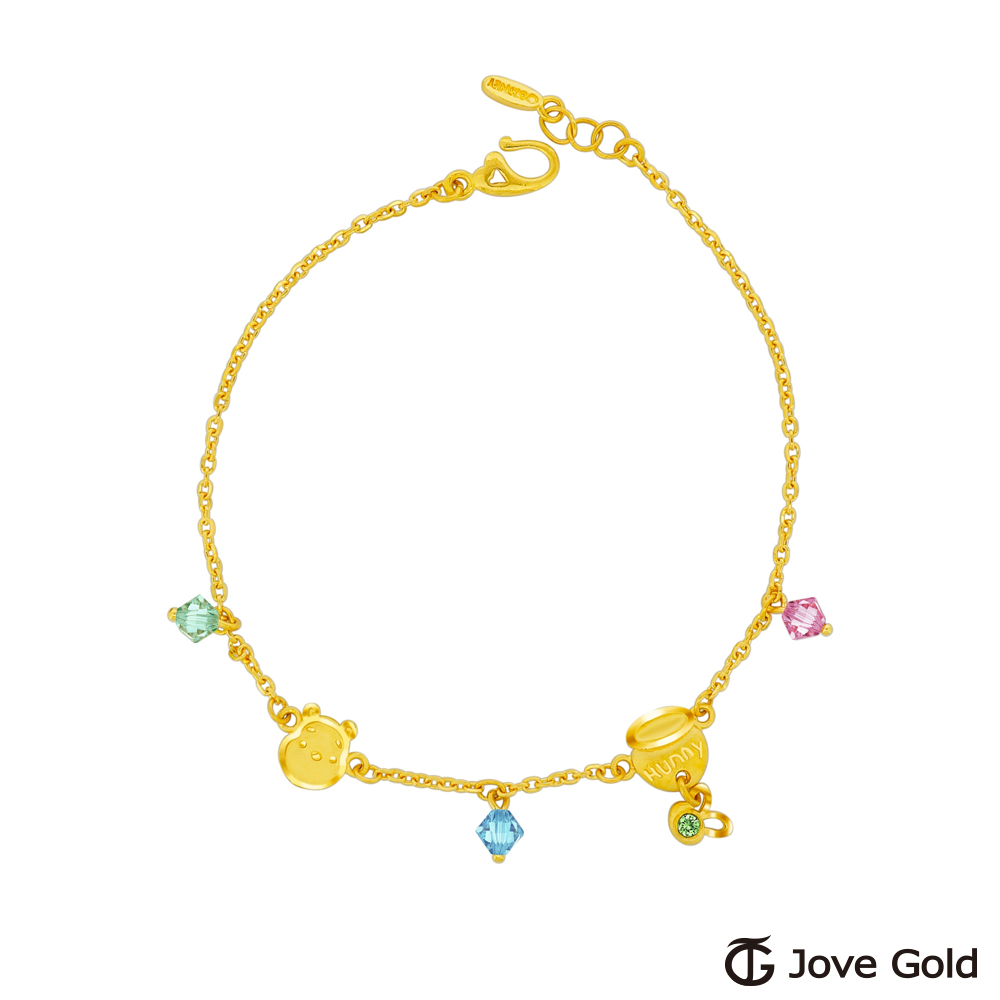 Disney迪士尼金飾 維尼系列-維尼一窩蜂黃金/水晶手鍊 @ Y!購物