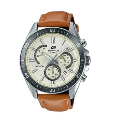 CASIO卡西歐 商務文青皮革男腕錶(EFR-554L-7A)-白x47mm