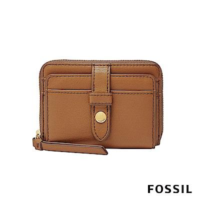 FOSSIL Fiona 真皮系列拉鍊零錢短夾-焦糖色