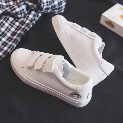 韓國KW美鞋館 純淨花盛彩虹小白鞋-白