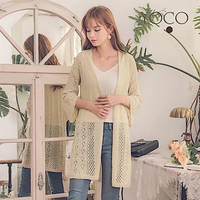 東京著衣-yoco 柔美淡雅簍空針織長袖罩衫-S.M.L(共二色)