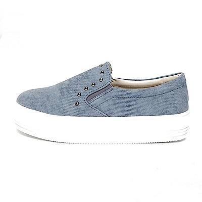 【AIRKOREA韓國空運】絨布氣質珠飾懶人休閒鞋-藍