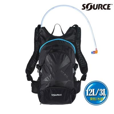 SOURCE 戶外健行水袋背包 Air Fuse 12L 2054229012|背包12L/水袋3L|黑色