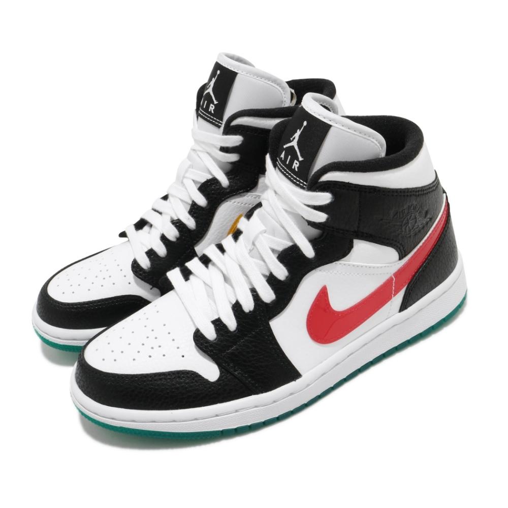 Nike 休閒鞋 Air Jordan 1 Mid 運動 女鞋 經典款 喬丹一代 皮革 簡約 球鞋 黑 綠 BQ6472063