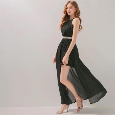 AIR SPACE 珠飾削肩開衩雪紡洋裝 (黑)