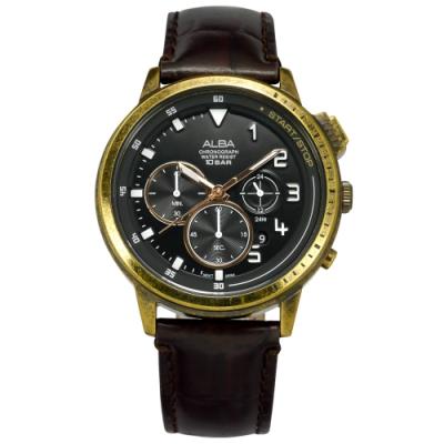 ALBA 紳士英倫 三眼計時 仿舊錶殼 防水100米 真皮手錶-黑x金框x紅褐/45mm