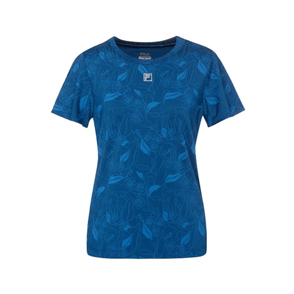 FILA 女吸濕排汗短袖T恤-藍色 5TEV-1601-BU