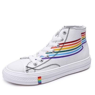 韓國KW美鞋館-虹彩玩色俏皮板鞋-白色(高筒款)